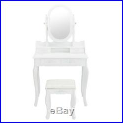 Vanity Set with Jewelry Mirror Cabinet Makeup Up Dressing Table Desk 4 Drawers