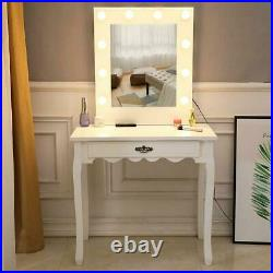 Vanity Set with Lighted Mirror Makeup Dressing Table+10 LED Light+Stool WithDrawer
