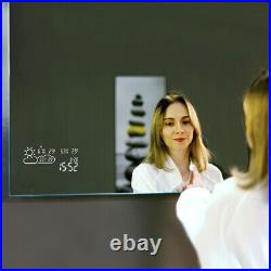 Vanity Smart Bathroom Mirror with LED Lights, Weather, Demist, Touch Switch