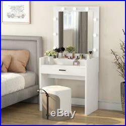 Vanity Table Set with 9 Lights Drawer Makeup Dressing Desk with Mirror White US