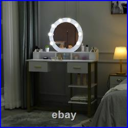 Vanity Table with Lighted Mirror Dressing Table with Drawers Makeup Table Set