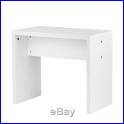 Vanity Wooden Makeup Dressing Table Stool Set WithMirror &3 Drawers White