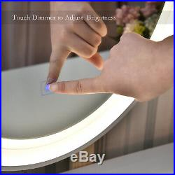White Makeup Vanity Dessing Table Set with LED Round Mirror 2 Drawers Wood Desk