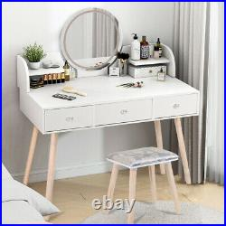 White Makeup Vanity Set Dressing Table 3 Variable LED Light Mirror with Stool