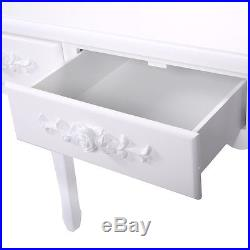 White Vanity Jewelry Wooden Makeup Dressing Table Set WithStool Mirror & 4 Drawer