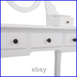 White Vanity Set Makeup Dressing Table With Stool 5 Drawers Oval Mirror Wood