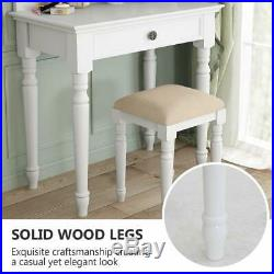 White Vanity Set with Lighted Mirror & Stool Drawer Women Makeup Dressing Table