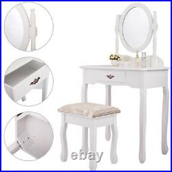 White Vanity Table Set Jewelry Makeup Desk Bench Dresser with Stool Drawer Mirror