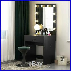 Women Lady Vanity Set With Lighted Mirror Makeup Dressing
