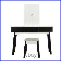 Women Makeup Dressing Table Lighted Mirror Home Vanity Set with Drawers & Stool