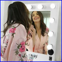 Wood Bluetooth Large Makeup Mirror Illuminated Vanity Dimmer For Dressing Table