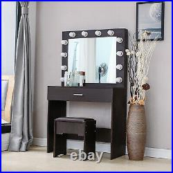Wood Makeup Vanity Dressing Table Stool Set with 12 LED Lighted Mirror Drawer